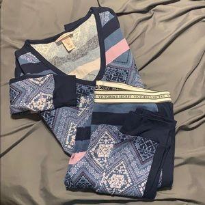 VICTORIA'S SECRET / 2 pc LS cotton pajamas set